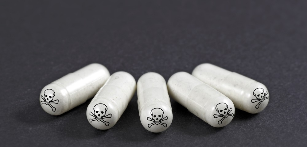 капсулы, вредные таблетки, кости и череп, via shutterstock