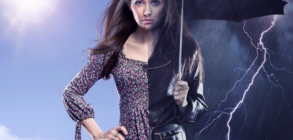 девушка, погода, зонт, via shutterstock