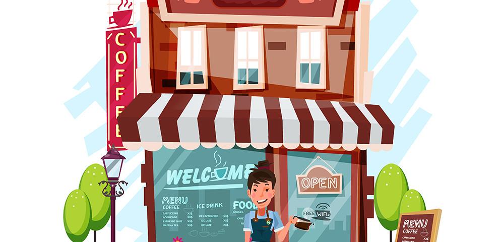девушка возле кафе, рисунок, via shutterstock