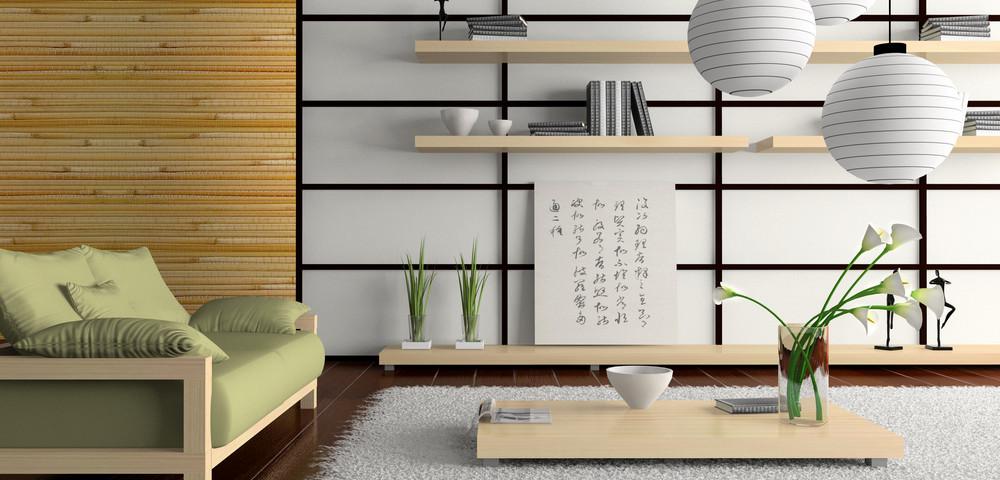 интерьер японского дома, via shutterstock